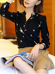 Spring Summer  Chiffon  Women  V-Neck  Decorative Button  Floral  Long Sleeve Blouses
