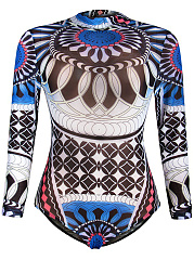Band-Collar-Printed-One-Piece-With-Long-Sleefe