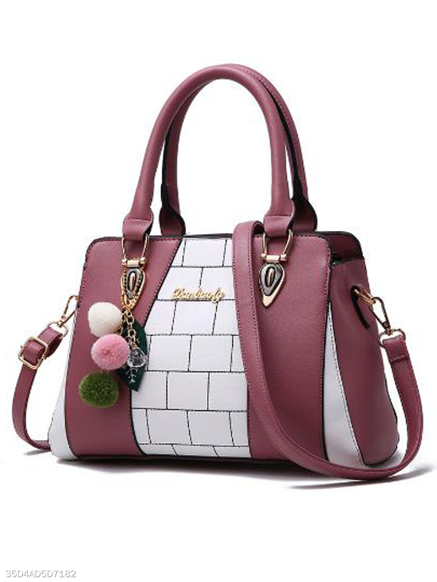 Personality Color Block Contrast Trim PU Hand Bag