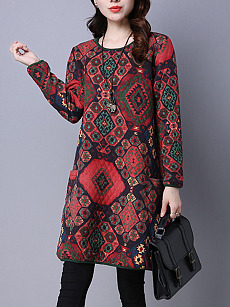 Round Neck Patch Pocket Tribal Printed Shift Dress