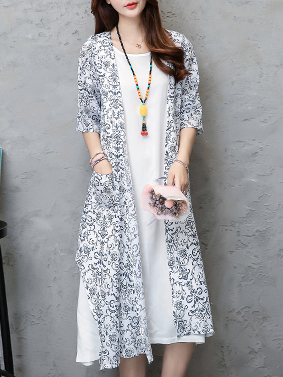 Round Neck Patch Pocket Printed Two-Piece Maxi Dress