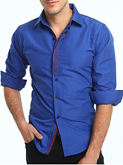 Turn-Down-Collar-Color-Block-Men-Shirts