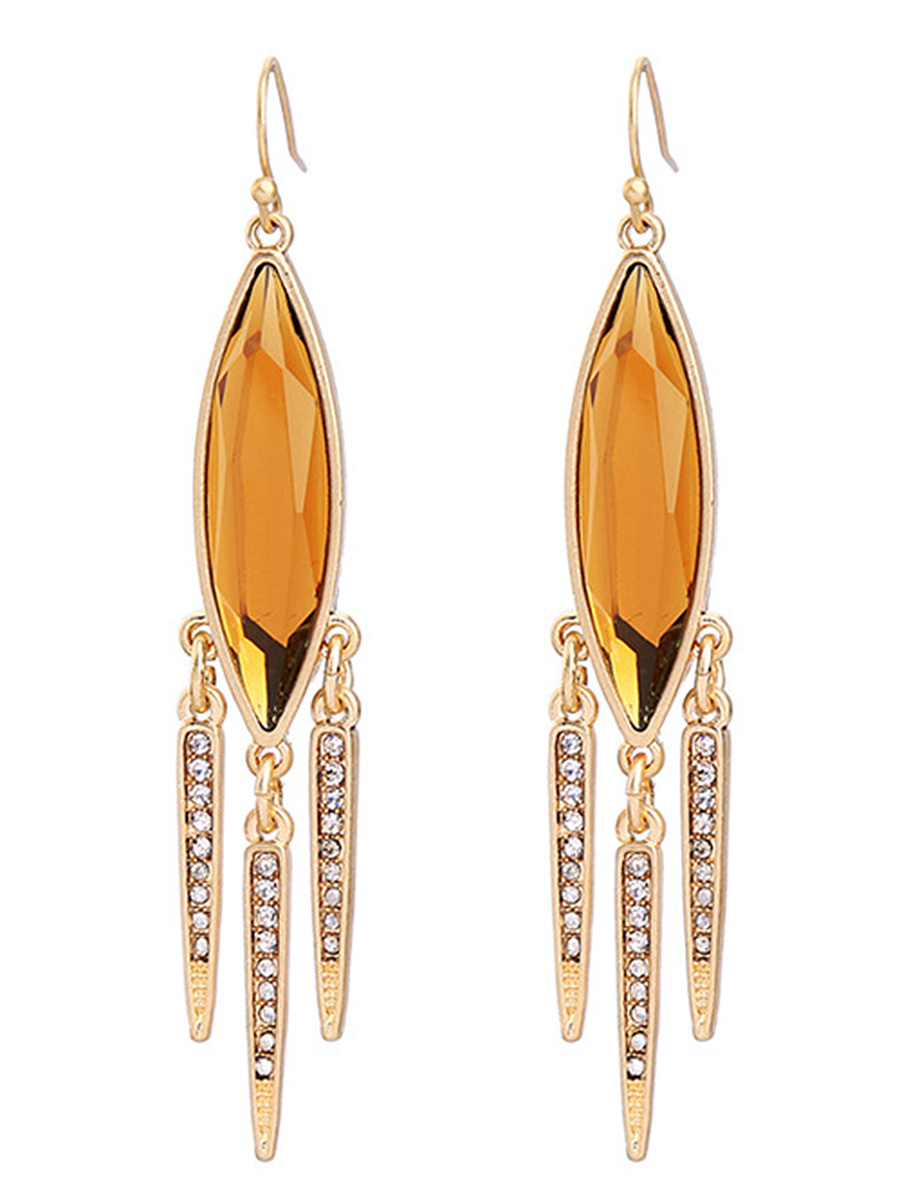 Faux Crystal Fringe Drop Earrings