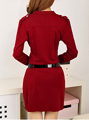 Split Neck Pocket Belt Plain Bodycon Dress