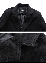 Lapel Plain Single Breasted Men Longline Coat