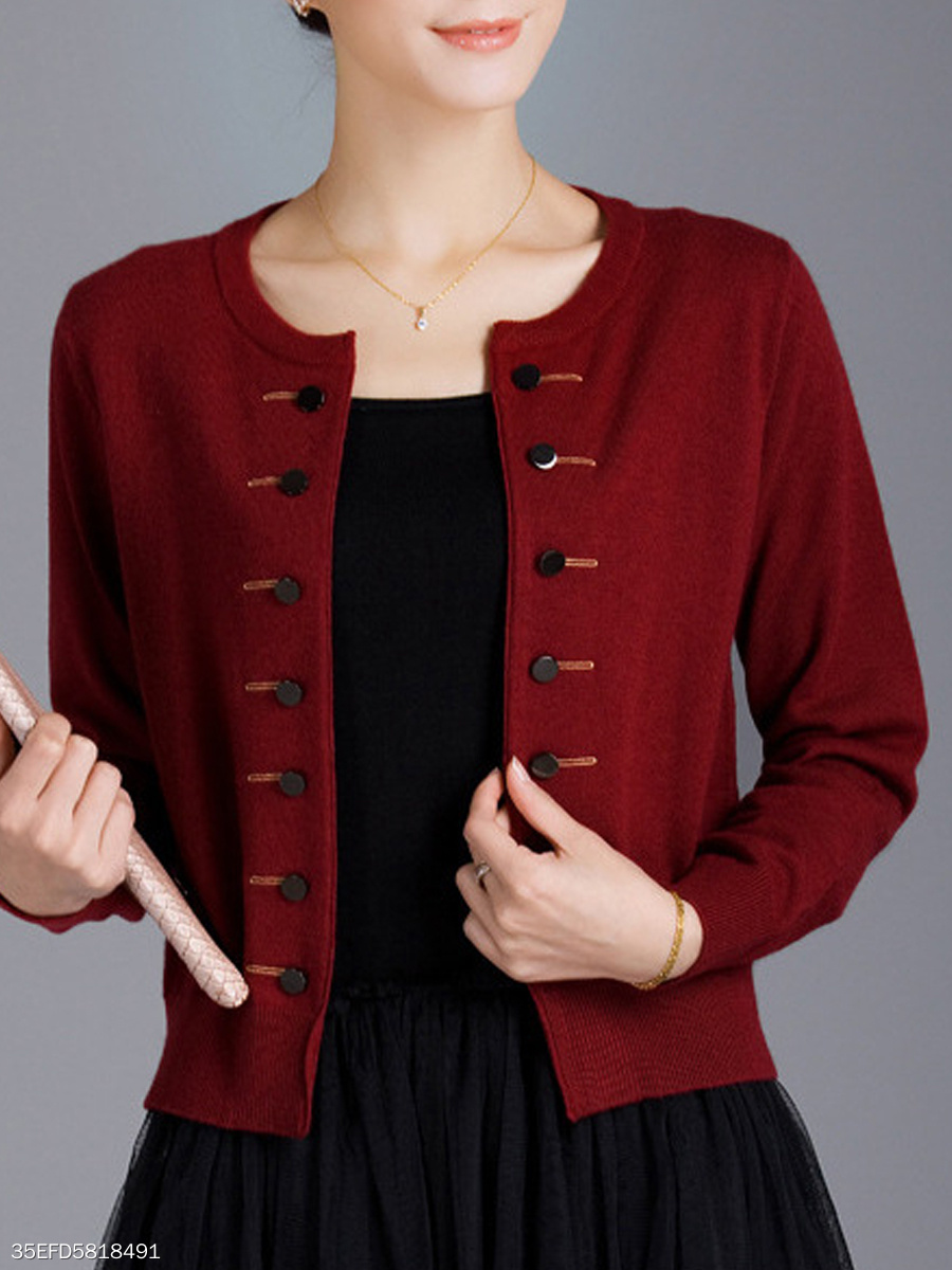 Double Breasted  Plain  Long Sleeve Cardigans