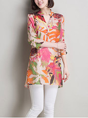 Spring Summer  Linen  Women  V-Neck  Decorative Button  Floral Printed  Three-Quarter Sleeve Blouses