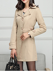 Lapel  Single Breasted  Belt Loops  Plain Trench Coat