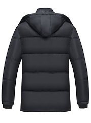 Hooded Plain Fleece Lined Quilted Men Padded Coat