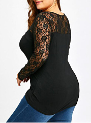 See-Through  Plain Plus Size T-Shirts