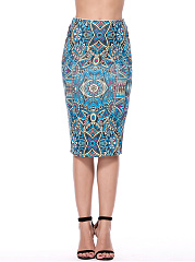 Tribal Printed Pencil Midi Skirt