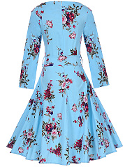Fabulous Floral Printed Round Neck Skater Dress