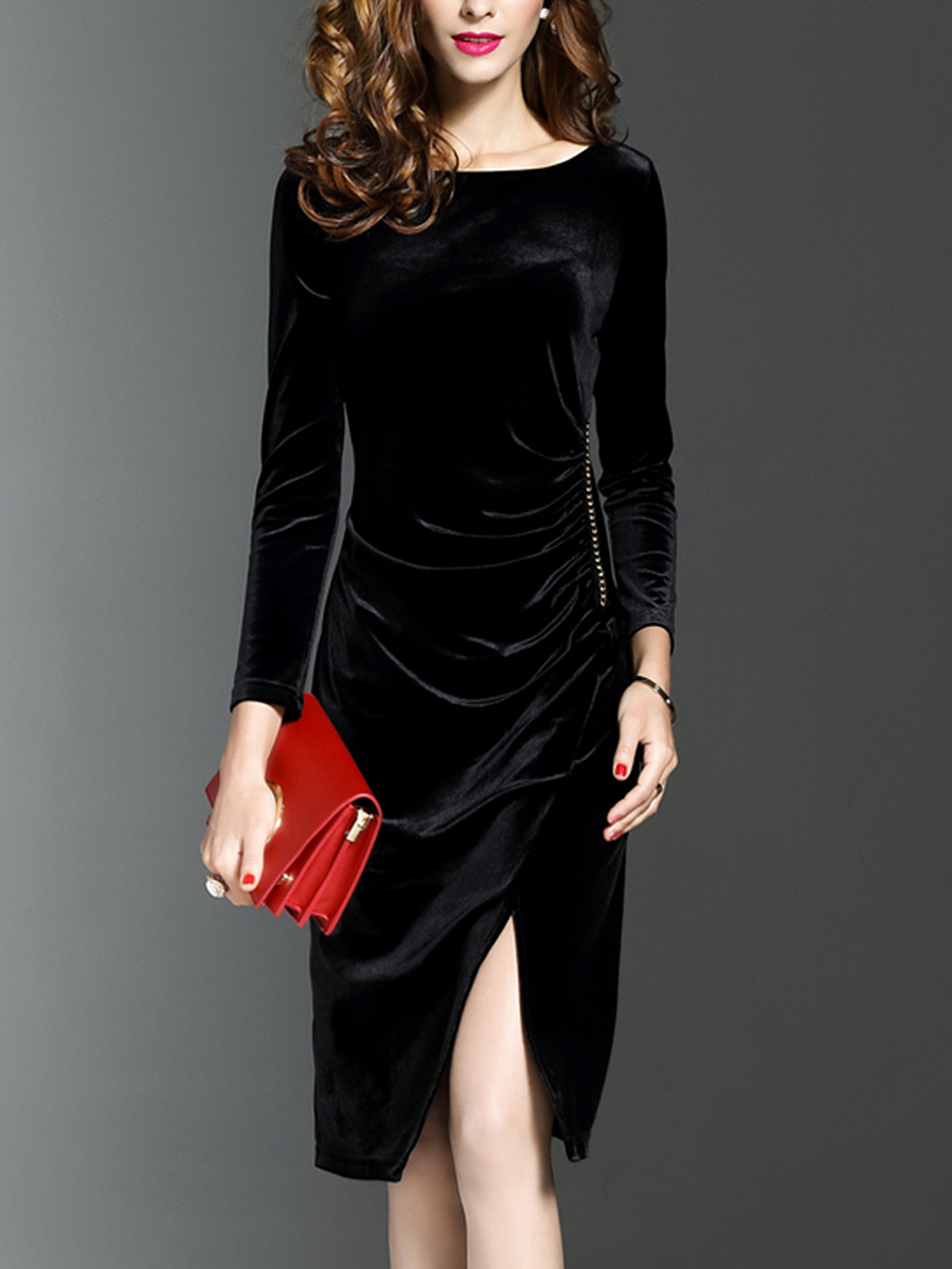 Round Neck Plain Slit Velvet Bodycon Dress