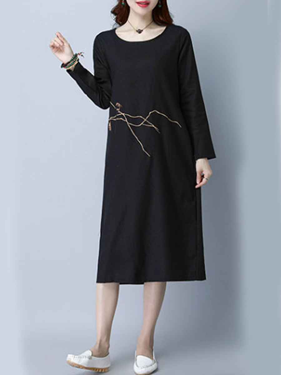 Round Neck Embroidery Pocket Midi Shift Dress