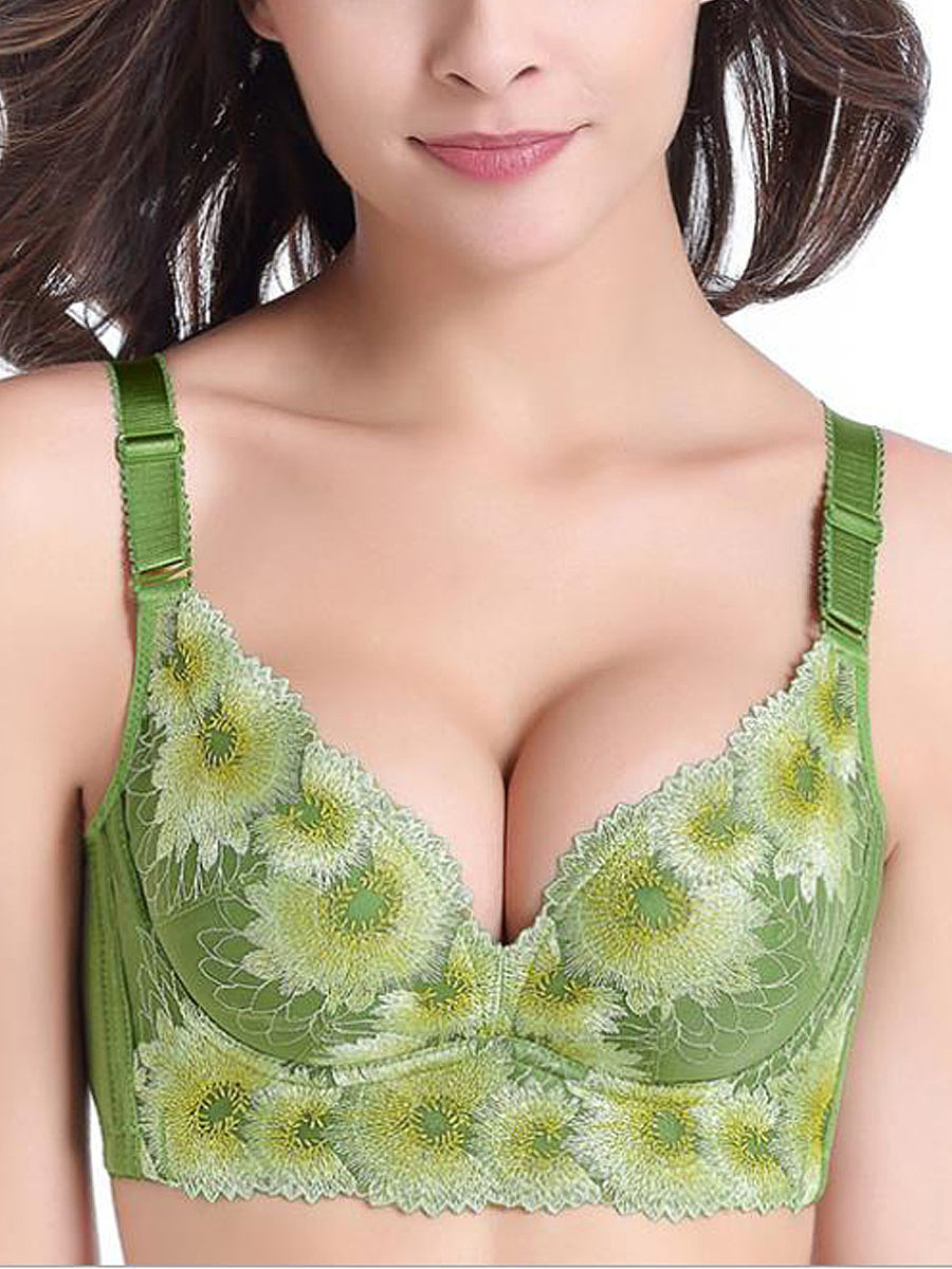 Sexy Lace-Trim Printed Seanfree Adjustable Gather Push Up Bras