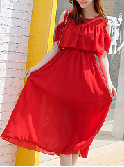 Open Shoulder  Elastic Waist  Plain Maxi Dress