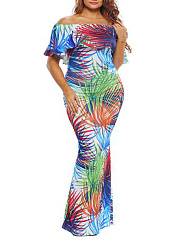 Off Shoulder  Abstract Print Plus Size Midi & Maxi Dresses