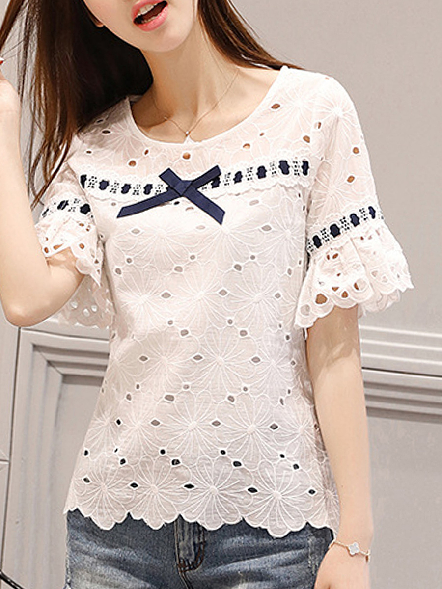 Bowknot Hollow Out Bell Short Sleeve T-Shirt