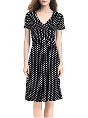 V-Neck Polka Dot Empire Skater Dress