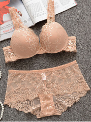 Deep V Gather Lace Brief Set