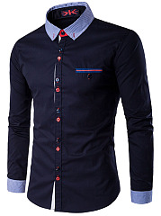 Contrast-Button-Men-Shirts-With-Pinstripe-Collar-And-Cuff