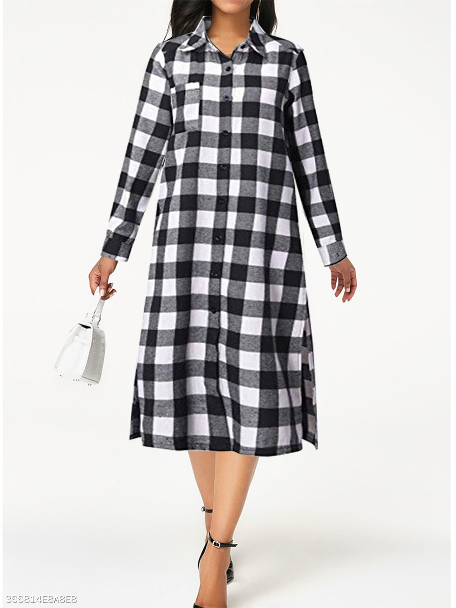 Turn Down Collar  Plaid Maxi Dress