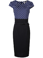 Crew Neck  Polka Dot Bodycon Dress