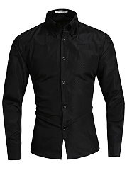 Black-Fitted-Turn-Down-Collar-Men-Shirts