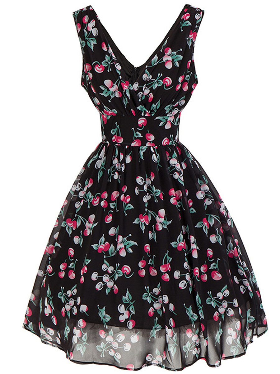 V-Neck Cherry Printed Sleeveless Skater Dress