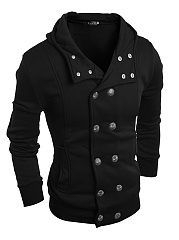 Hooded Double Breasted Plain Pocket Men Coat