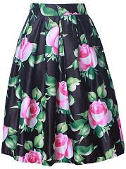 Floral-Printed-Flared-Elastic-Waist-Midi-Skirt