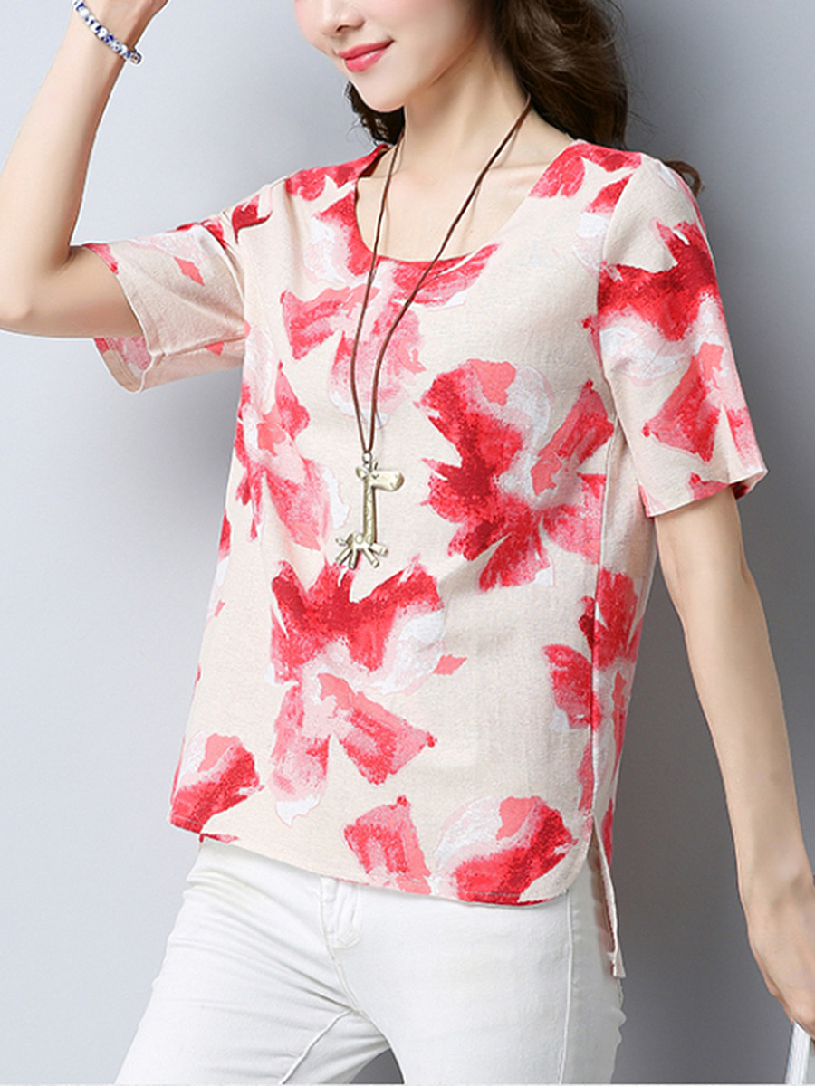 Casual Loose Round Neck Printed Blouse