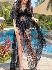 Lace Longline Deep V-Neck High Slit See-Through Plain Tunic