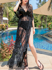 Lace-Longline-Deep-V-Neck-High-Slit-See-Through-Plain-Tunic