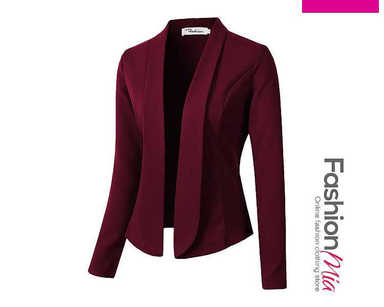 hooded:no, thickness:regular, outerwear_type:blazer, style:elegant, material:polyester, collar&neckline:fold-over collar, sleeve:long sleeve, pattern_type:plain, occasion:daily*office, season:autumn*spring, package_included:top*1, length:45,shoulder:39,sleeve length:60,bust:90,
