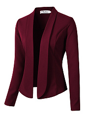 Fold-Over Collar  Plain  Long Sleeve Blazers