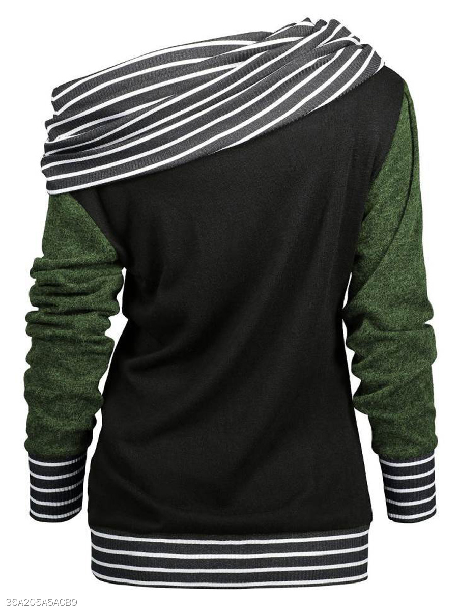 Autumn Spring Winter  Polyester  Women  Patchwork  Striped Long Sleeve T-Shirts
