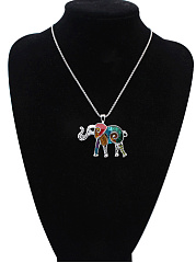 Multi Color Elephant Pendant Necklace And Earring