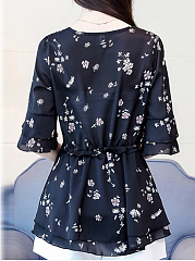 Spring Summer  Polyester  Women  Round Neck  Floral Printed  Bell Sleeve  Half Sleeve Blouses