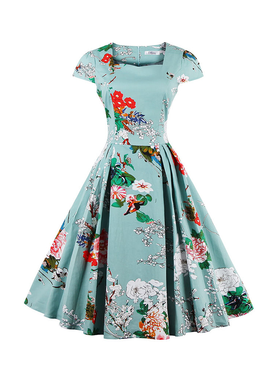 Square Neck Attractive Floral Printed Plus Size Flared Dress