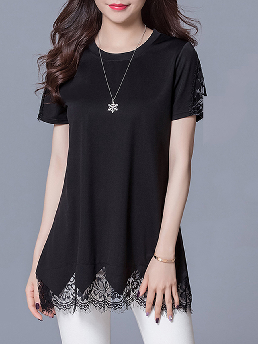 Awesome Decorative Lace Plain Round Neck Blouse