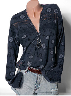 Autumn Spring Summer  Polyester  Women  Deep V-Neck  Decorative Lace  Printed  Long Sleeve Blouses