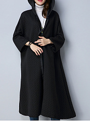 Hooded  Drawstring  Embroidery Plain  Long Sleeve Trench Coats