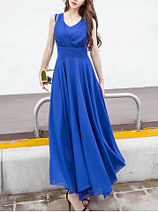 Summer V-Neck Plain Chiffon Sleeveless Maxi Dress