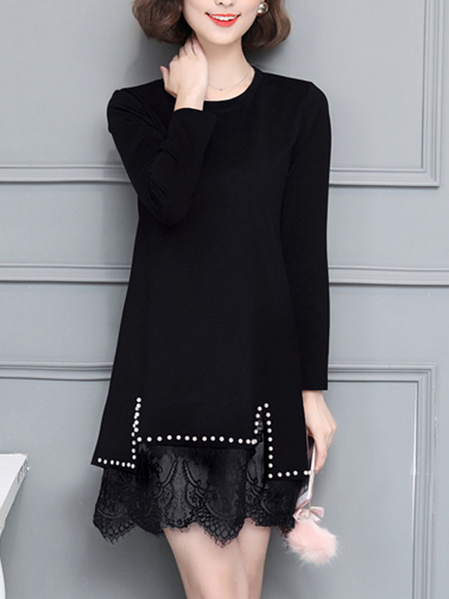 Round Neck Beading Patchwork Plain Shift Dress