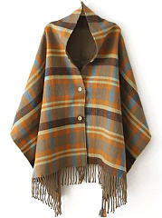 Decorative Button  Plaid Cape