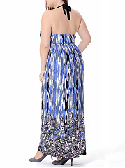 Halter  Backless  Paisley Printed  Plus Size Maxi Dress