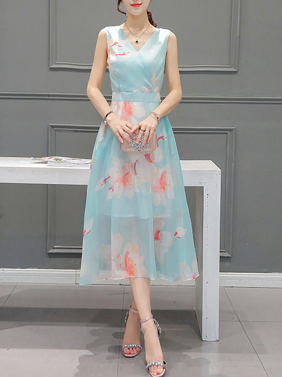 V-Neck  Floral Hollow Out  Chiffon Maxi Dress