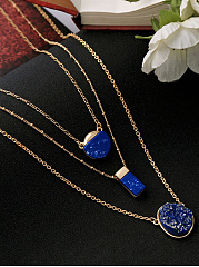 Star Sky Blue Stone Pendant Necklace