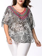 Loose V-Neck Animal Printed Chiffon Plus Size Blouse